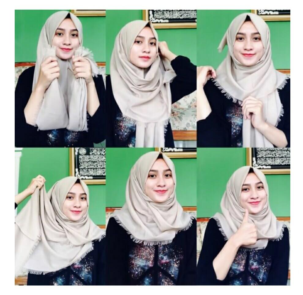 tutorial jilbab segi empat rawis polos